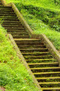 Old stone mossy staircase in lush green grass Royalty Free Stock Photo