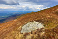 Old stone on mountain meadow in carpathians Stock Photo