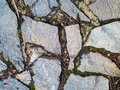 Old Stone Road or Pavement Closeup. Granite Sidewalk with Moss. Royalty Free Stock Photo