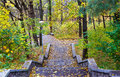Old stone staircase in the rocks in the autumn kiev ukrain Royalty Free Stock Photography