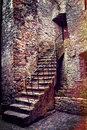 Old stone stairs and house Royalty Free Stock Photo