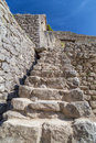 Old Stone stairs in Machu Picchu sacred city of Incas in Peru