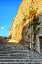 Old stone stairs and a wall Royalty Free Stock Photo