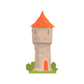 Old stone tower with red roof, ancient architecture building vector Illustration Royalty Free Stock Photo