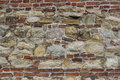 Old stone wall with bricks and cement background Royalty Free Stock Photography