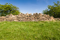 Old stone wall with grass and bushes countryside of cotswold hills england Royalty Free Stock Photo