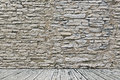 Old stone wall and wooden floor background Stock Photos
