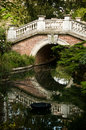 Old stoned bridge in monceau park paris Royalty Free Stock Images