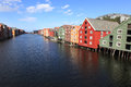 Old storehouses in trondheim norway Royalty Free Stock Photo
