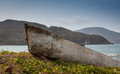 Old stranded boat outside santa marta colombia the must have been there for many years picture takes as the sun started to Stock Photography