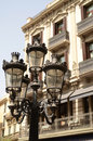 Old street lamp with beautiful old building Royalty Free Stock Photos