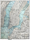 Old Street Map of New York City Royalty Free Stock Photo