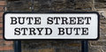 Old Street Name Signs Bute Street Stryd Bute in Cardiff Royalty Free Stock Photo