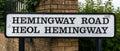 Old Street Name Signs Hemingway Road Heol Hemingway in Cardiff Royalty Free Stock Photo