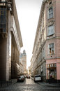 Old street narrow in center of lviv ukraine Royalty Free Stock Photography