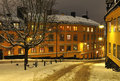 Old street in Stockholm winter Stock Photography