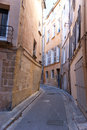 The old street tilted house on narrow winding of aix en provence france Royalty Free Stock Image