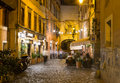 Old street in trastevere in rome italy Royalty Free Stock Image