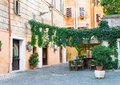 Old street in trastevere in rome italy Royalty Free Stock Images