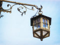 Old streetlamp beautiful in front of blue sky Stock Photos