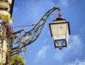 Old streetlamp beautiful in front of blue sky Stock Photo
