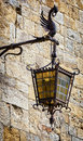 Old streetlamp beautiful historic and brick wall Royalty Free Stock Photography
