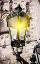 Old streetlamp lights in the center of prague Royalty Free Stock Images