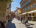 At the old streets of czech krumlov czech republic cesky sep castle tower tourists visit national treasure cesky saved by unesco Royalty Free Stock Photos