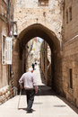 On the old streets of jerusalem historical part city Royalty Free Stock Image