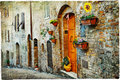 Old streets of medeival towns of itlay charming medieval tuscany Stock Photography