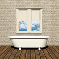 Old style bathtub in a retro bathroom Royalty Free Stock Images