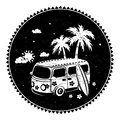 Old style bus with palm trees Royalty Free Stock Photos