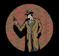 Old style Detective, such as from the fifties. Royalty Free Stock Images