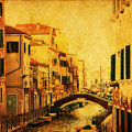 Old style picture of a canal in Venice Stock Image