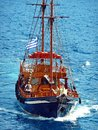 Old Style Sailing Ship, Santorini Caldera, Greece Royalty Free Stock Photo