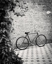 Old style singlespeed bicycle against brick wall Royalty Free Stock Photo