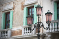 Old style street lights from venice italy Royalty Free Stock Photos