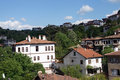 Old style turkish konak country houses on a tree covered hillside in safranbolu turkey Stock Photography