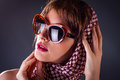 Old style woman in sunglass Royalty Free Stock Images
