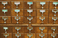 An old style wooden cabinet of library card  or file catalog ind Royalty Free Stock Photo