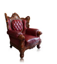 Old styled brown vintage armchair isolated, clipping path. Stock Photos