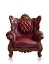 Old styled brown vintage armchair isolated, clipping path. Royalty Free Stock Photos