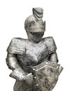 Old suit of armor isolated metal mid evil era with helmet and shield on white Stock Photography