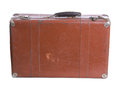 Old suitcase brown brown color isolated and white background Stock Photo