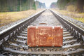 Old suitcase on the railway in autumn Royalty Free Stock Images