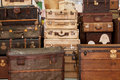 Old suitcases a bunch of at an antique trade fair Royalty Free Stock Images