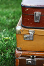 Old suitcases color shot of a pile of used Royalty Free Stock Image