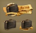 Old suitcases vector icons set with retro Royalty Free Stock Images