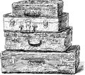 Old suitcases vector sketch of the vintage Royalty Free Stock Images