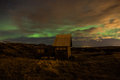 Old summer house sunner with some aurora in the sky Stock Photography